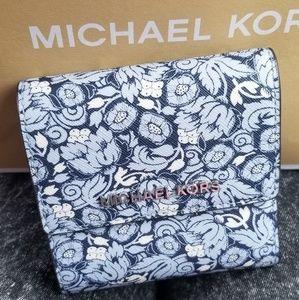 Michael Kors Blue & White Trifold Wallet